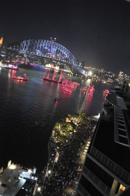 Sydney Harbour Bridge and crwods at East Circular Quay