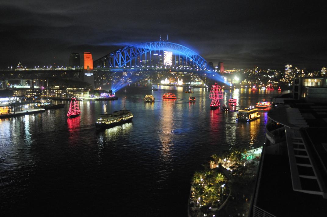 Sydney Harbour Bridge In Blue