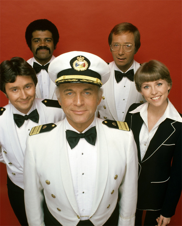 Cast of The Love Boat. Gavin MacLeod (centre).